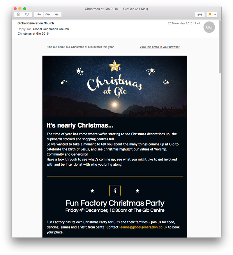 Email covering details of events, booking info and contact points